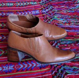 Brown Leather Ankle Bootie